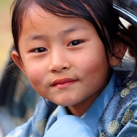 A Bhutanese girl in blue